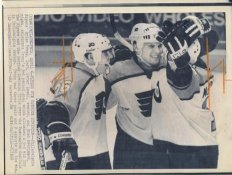 Brian Propp, Peter Zezel & Brad McCrimmon Flyers Original Press Photo Laser Paper Stock Includes Newsclipping w/ Caption on Back Approx. 8.5x11