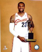 Lebron James With 2009-2010 MVP Trophy Cleveland Cavaliers 8X10 Photo LIMITED STOCK