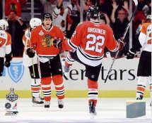 Marian Hossa & Troy Brouwer Celebrate Goal Game 1 Stanley Cup Finals Chicago Blackhawks 8x10 Photo