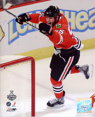 Ben Eager Goal Celebration Game 2 Stanley Cup Finals 2010 Chicago Blackhawks 8x10 Photo