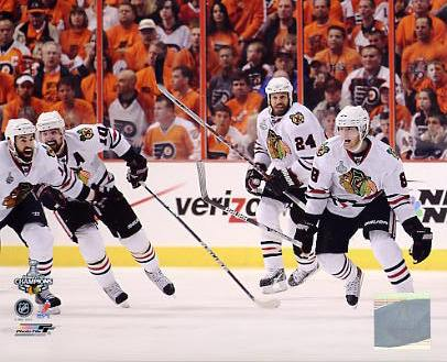 Nick Boynton, Patrick Sharp & Patrick Kane Celebrate 2010 Stanley Cup Win Chicago Blackhawks 8x10 Photo