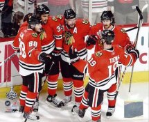 Patrick Sharp, Duncan Keith, Jonathan Toews, Patrick Kane & Dustin Byfuglien Goal Celebration Game 5 Stanley Cup Finals 2010 Chicago Blackhawks 8x10 Photo