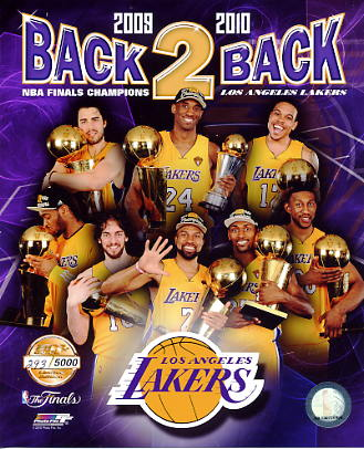 Lakers 2010 Limited Edition 2009-2010 Back 2 Back Champs 8X10 Photo
