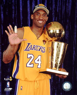 Kobe Bryant 5 X NBA Champ W/ Trophy Los Angeles Lakers SATIN 8x10 Photo LIMITED STOCK