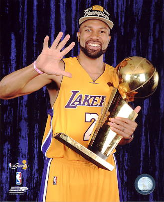 Derek Fisher 2010 NBA Champ W/ Trophy Los Angeles Lakers  LIMITED STOCK 8x10 Photo