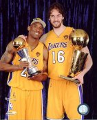 Pau Gasol & Kobe Bryant With Champs Trophies NBA Finals 2010 Los Angeles Lakers 8x10 Photo LIMITED STOCK