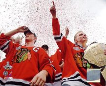 Patrick Kane & Jonathan Toews With 2010 Stanley Cup At Victory Parade Chicago Blackhawks 8x10 Photo