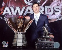 Sidney Crosby W/ Maurice Richard Trophy & Messier Leadership Award LIMITED STOCK Pittsburgh Penguins 8x10 Photo