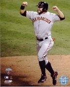 Cody Ross Celebrates Edgar Renteria 3 Run Hit 2010 WS San Francisco Giants 8X10 Photo