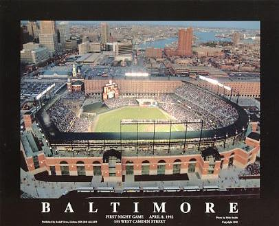 A1 Baltimore Stadium 1st Night Game April 8,1992 Baltimore Orioles 8x10 Photo