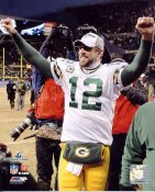 Aaron Rodgers Celebrates 2010 NFC Championship Win Green Bay Packers 8X10 Photo