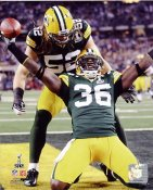 Nick Collins & Clay Matthews Super Bowl 45 Interception Touchdown Green Bay Packers 8X10 Photo