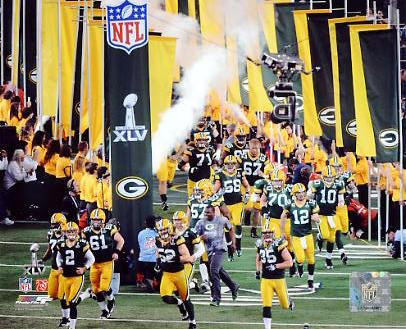 Packers Team Take Field Super Bowl 45 Green Bay 8X10 Photo