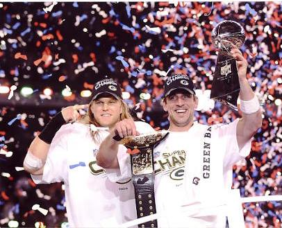 Clay Matthews & Aaron Rodgers w/ Lombardi Trophy Super Bowl 45 Green Bay Packers 8X10 Photo