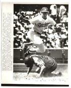 Steve Sax LA Dodgers Leaps Over Bruce Benedict Atlanta Braves Original Press Photo / Wire Photo 8x10