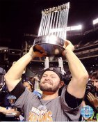 Cody Ross With 2010 WS Trophy San Francisco Giants 8X10 Photo