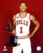 Derrick Rose W/ 2011 MVP Trophy Chicago Bulls 8X10 Photo LIMITED STOCK