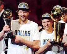 Dirk Nowitzki & Jason Kidd with MVP & Champs Trophy 2011 NBA Finals Dallas Mavericks LIMITED STOCK 8X10 Photo