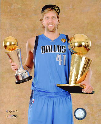 Dirk Nowitzki with MVP & Champs Trophy 2011 NBA Finals Dallas Mavericks 8X10 Photo LIMITED STOCK