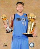 Dirk Nowitzki with MVP & Champs Trophy 2011 NBA Finals Dallas Mavericks 8X10 Photo LIMITED STOCK