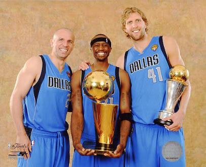 Dirk Nowitzki , Jason Kidd and Jason Terry with MVP & Champs Trophy 2011 NBA Finals LIMITED STOCK Dallas Mavericks 8X10 Photo