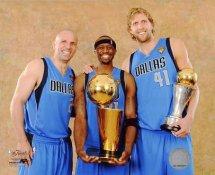 Dirk Nowitzki , Jason Kidd and Jason Terry with MVP & Champs Trophy 2011 NBA Finals LIMITED STOCK Dallas Mavericks 8X10 Photo