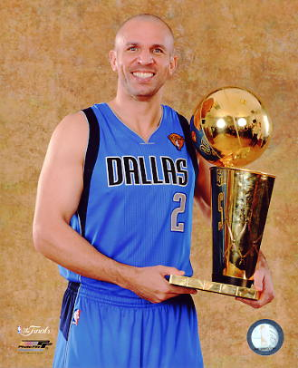 Jason Kidd with Champs Trophy 2011 NBA Finals LIMITED STOCK Dallas Mavericks 8X10 Photo