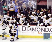 Bruins 2011 Empty Bench in Celebration of Stanley Cup Win Game 7 Boston 8x10 Photo
