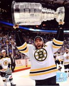 Patrice Bergeron with 2011 Stanley Cup Boston Bruins SATIN 8x10 Photo
