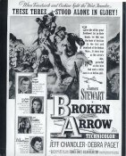 "James Stewart, Jeff Chandler, Debra Paget ""Broken Arrow""  May Have Slight Creases LIMITED STOCK 8X10 Photo"