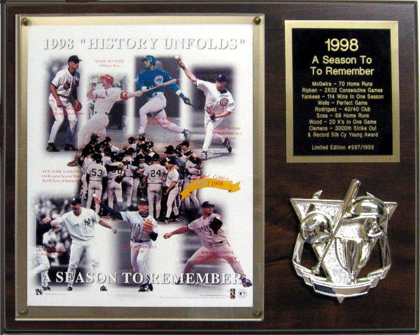 1998 A Season To Remember Limited Edition Plaque of 1998 NUMBERED Cal Ripken, Jr., Roger Clemens, David Wells, Mark McGwire etc.