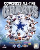 Troy Aikman, Roger Staubach, Emmitt Smith, Bob Lilly Dallas Cowboys All-Time Greats SATIN 8X10 Photo LIMITED STOCK -