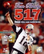 Tom Brady Most Passing Yards In New England History 517 New England Patriots 8X10 Photo