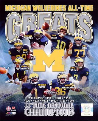 Chad Henne, Tom Brady, Mario Manningham, Braylon Edwards, Mike Hart, Charles Woodson, Jake Long Michigan Wolverines All-Time Greats SATIN 8X10 Photo LIMITED STOCK -