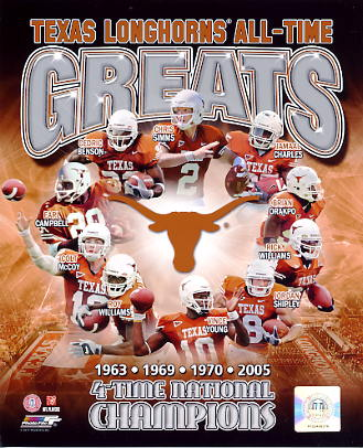 Earl Campbell, Brian Orakpo, Ricky Williams, Jordan Shipley, Vince Young, Roy Williams, Colt McCoy, Cedric Benson, Chris Simms, Jamaal Charles Texas Longhorns All-Time Greats LIMITED STOCK 8X10 Photo