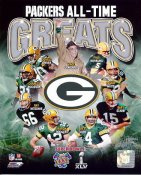 Bart Starr, Brett Favre, Aaron Rodgers, Ray Nitschke, Charles Woodson, Donald Driver, Vince Lombardi, Paul Hornung, Reggie White Green Bay Packers All-Time Greats SATIN 8X10 Photo