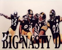 "Joey Porter, Kendrell Bell, James Farrior, Jason Gildon ""Big Nasty D"" SUPER SALE Pittsburgh Steelers 8x10 Photo"