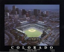 A1 Colorado Rockies Coors Stadium Aerial April 26, 1995 First Opening Day (Photo Very Dark) 8X10 Photo