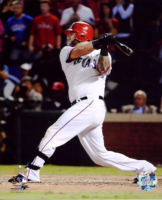 Mike Napoli 2011 World Series 2 Run Double Game 5 LIMITED STOCK Texas Rangers 8X10 Photo