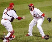 Jason Motte & Yadier Molina Celebrate 2011 World Series Win St. Louis Cardinals LIMITED STOCK 8X10 Photo GLOSSY
