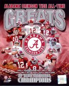 Joe Namath, Javier Arenas, Mark Ingram, Greg McElroy, Julio Jones, Brodie Croyle, John P. Wilson, Bart Starr, Marcell Dareus, Ken Stabler LIMITED STOCK Alabama Crimson Tide Greats 8X10 Photo