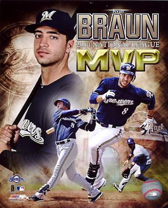 Ryan Braun 2011 MVP Milwaukee Brewers 8x10 Photo