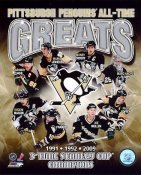 Joe Mullen, Paul Coffey, Marc Andre Fleury, Sid Crosby, Mario Lemieux, Jaromir Jagr, Evgeni Malkin, Ron Francis Penguins 3 Time Champs 1991-1992-2009 Pittsburgh All-Time Greats SATIN 8x10 Photo LIMITED STOCK -