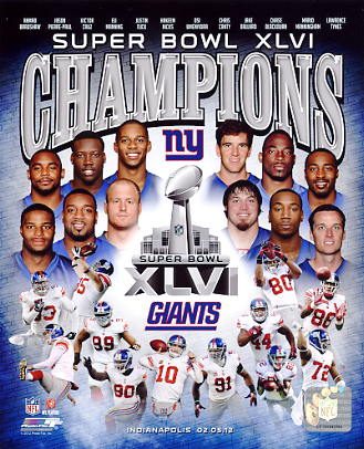 Giants 2012 Super Bowl Champions New York 8x10 Photo