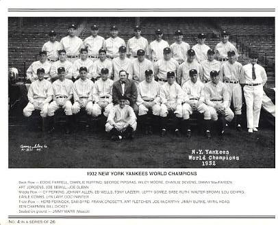 Yankees 1932 World Champions New York Team Photo Daily News with Headlines On Back / Glossy Paperstock Includes Top Load Holder 8X10 Photo