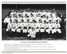 Yankees 1936 World Champions New York Team Photo Daily News with Headlines On Back / Glossy Paperstock Slight Creases 8X10 Photo