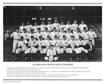 Yankees 1937 World Champions New York Team Photo Daily News with Headlines On Back / Glossy Paperstock Slight Creases 8X10 Photo