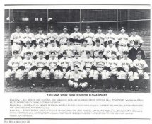 Yankees 1939 World Champions New York Team Photo Daily News with Headlines On Back / Glossy Paperstock Slight Creases 8X10 Photo