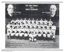 Yankees 1941 World Champions New York Team Photo Daily News with Headlines On Back / Glossy Paperstock Slight Creases 8X10 Photo