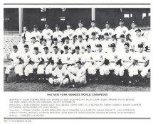 Yankees 1947 World Champions New York Team Photo Daily News with Headlines On Back / Glossy Paperstock Slight Creases 8X10 Photo